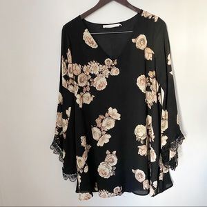 ASTR Black & Pink Floral Bell Sleeves Tunic Dress